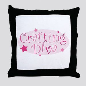 """Crafting Diva"" [pink] Throw Pillow"
